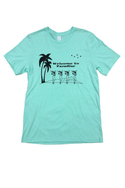 LIFE IS CONNECTED WELCOME TO PARADISE TEE available in MINT