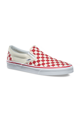 ... Vans Primary Check Classic Slip On available in Racing Red   White vans  is available in ... ce8987203