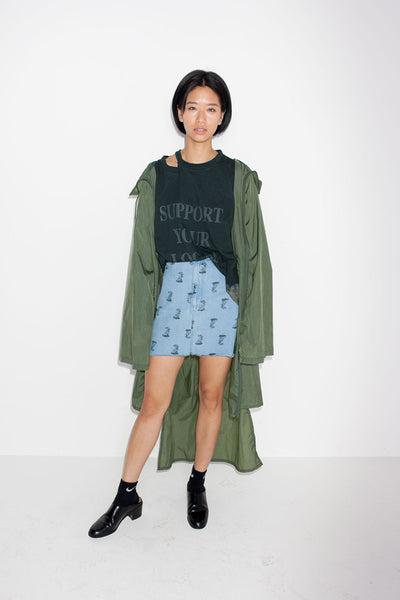 Perks And Mini (P.A.M.) Sweet Smell Printed Denim Skirt available in Bleach Perks And Mini aka P.A.M. is available in Brisbane Queensland Australia at Violent Green Albert Street store