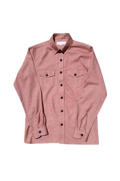 LIFE IS CONNECTED Dobby Weave Work Shirt Burnt Orange