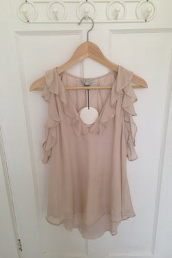 LOVER PRIESTESS RUFFLE TOP available in BLUSH