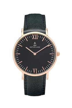 KAPTEN & SON All Black Campina Black Face (36mm) Black Leather Strap Rose Gold Hardware
