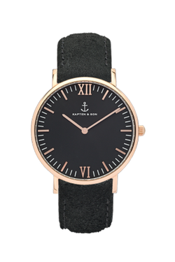 KAPTEN & SON All Black Vintage Campina Black Face (36mm) Black Suede Leather Strap Rose Gold Hardware
