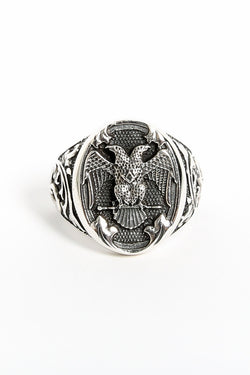 SJ DYNASTY BASILEUS DOUBLE HEADED EAGLE RING available in STERLING SILVER
