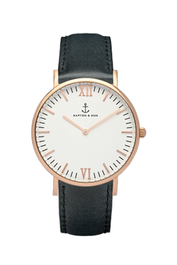 KAPTEN & SON Black Leather Campina White Face (36mm) Black Leather Strap Rose Gold Hardware