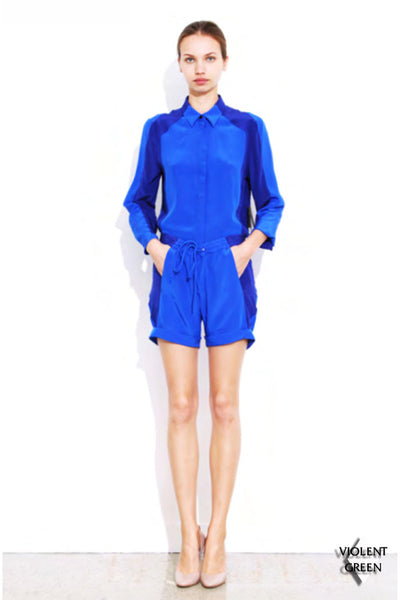 DION LEE LINE II CONTRAST SHORT available in BLUE/SAPPHIRE