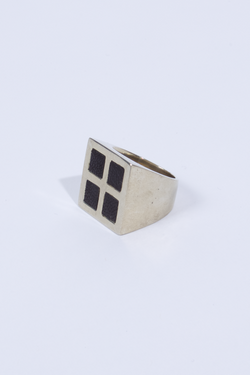 ANNEX Dice Ring White Brass