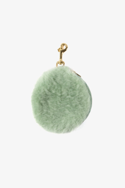 Deadly Poines Pom Pom Purse Shearling - Sage
