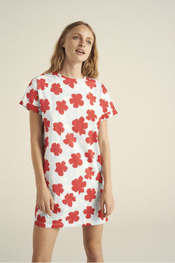ETRE CECILE Flower Oversize Dress White Red