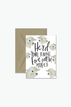 ROSIE LOU Ewe Will Be Missed Pun Greeting Card