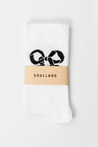 Soulland Nos Ribbon Tennis Socks White Soulland is available in Brisbane Queensland Australia at Violent Green Albert Street store