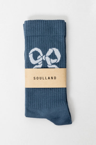Soulland Nos Ribbon Tennis Socks blue Soulland is available in Brisbane Queensland Australia at Violent Green Albert Street store