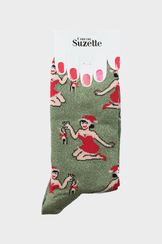 CouCou Suzette Christmas Pin Up Socks CouCou Suzette is available in Brisbane Queensland Australia at Violent Green store #coucousuzette #coucousuzettedealer #coucousuzettebrisbane #coucousuzettequeensland #coucousuzetteaustralia #coucousuzettestockist #lapelpins #patches #irononpatches #pins #buttons #socks #noveltysocks #frenchdesigner