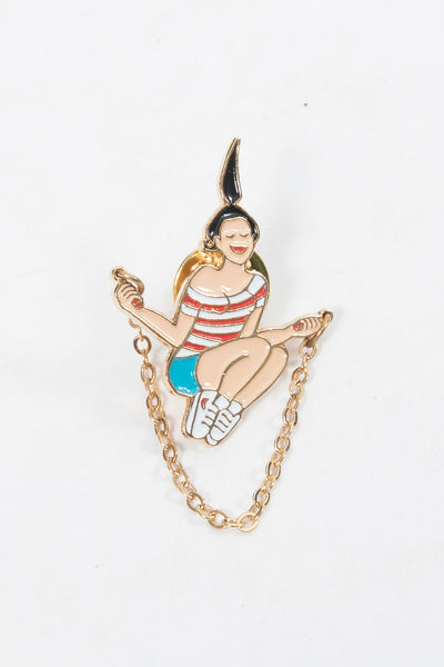 CouCou Suzette Jumping Rope Lapel Pin CouCou Suzette is available in Brisbane Queensland Australia at Violent Green store #coucousuzette #coucousuzettedealer #coucousuzettebrisbane #coucousuzettequeensland #coucousuzetteaustralia #coucousuzettestockist #lapelpins #patches #irononpatches #pins #buttons #socks #noveltysocks #frenchdesigner
