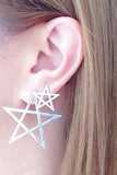 MEADOWLARK-PENTAGRAM STUD EARRING 40MM (single)-SILVER