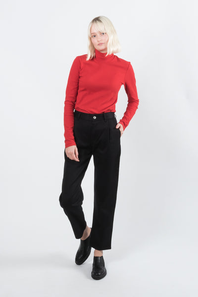 Kowtow Building Block Ladder Rib High Neck Top Red Kowtow is available in Brisbane Queensland Australia at Violent Green Albert Street store #kowtow #kowtowclothing #kowtowpant #kowtowstockist #kowtowdealer #kowtowaustralia #kowtowbrisbane #kowtowqueensland #kowtowshop #ethicalfashion #sustainablefashion