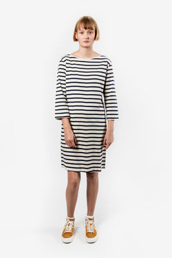 Kowtow Building Block Boat Neck Dress Navy & Natural Stripe