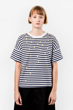 Kowtow Lost At Sea Tee Blue White Stripe