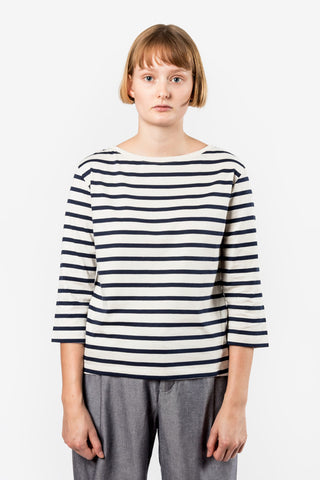 Kowtow Building Block Boat Neck Top Navy & Natural Stripe