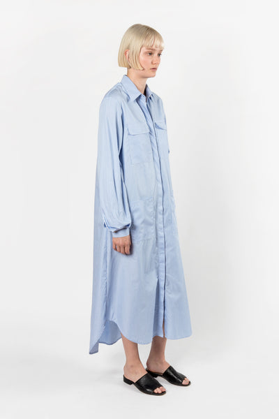 Matin Long Shirt Dress Blue Pinstripe Matin is available in Brisbane Queensland Australia at Violent Green Albert Street store