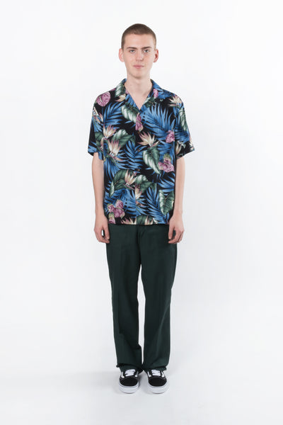 RCJ Aloha Shirt available in Palm Bird Of Paradise print on Black RJC aloha Hawaiian shirt is available in Brisbane queensland Australia at violent green store #rjc #alohashirt #campcollar #hawaiianshirt #robertjclancey #menswear #aloha #madeinusa