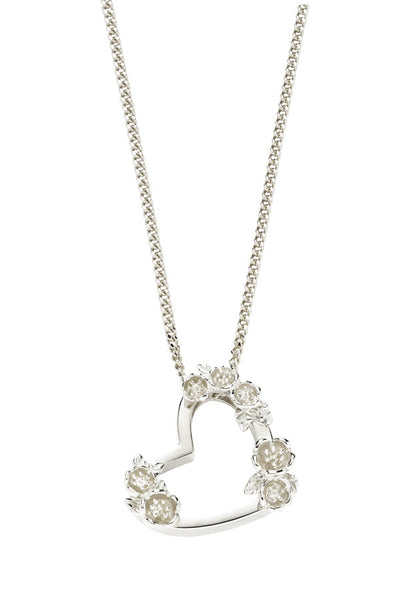 KAREN WALKER SMALL BOTANICAL HEART PENDANT(45cm) STERLING SILVER