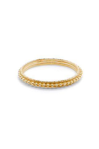 Natalie Marie Layered Textured Ring Gold