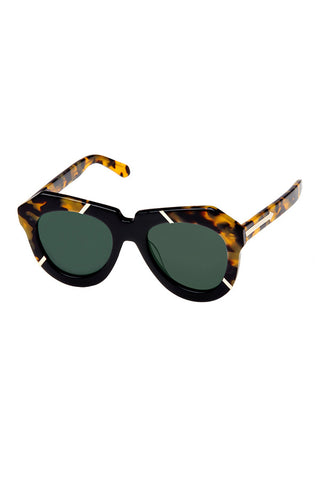 KAREN WALKER ALTERNATE FIT ONE SPLASH available in CRAZY TORT/BLACK GOLD FRAME and G15 MONO LENS