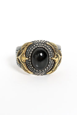 SJ Dynasty Phoenix Rising Ring Sterling Silver Brass Black Onyx