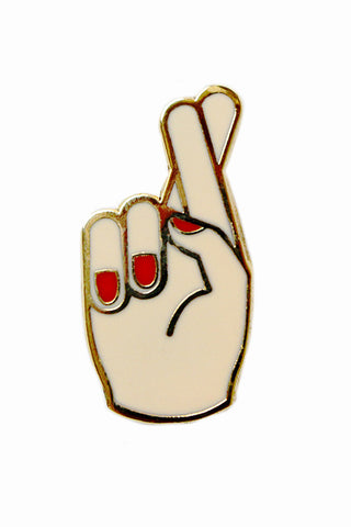 GEORGIA PERRY-FINGERS CROSSED PIN-ENAMEL/GOLD