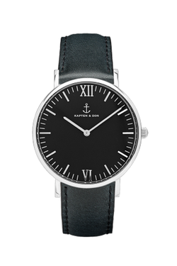 KAPTEN & SON Silver All Black Campina Black Face (36mm) Black Leather Strap Silver Hardware