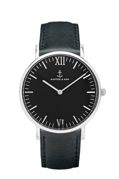 KAPTEN & SON Silver All Black Campus Black Face (40mm) Black Leather Strap Silver Hardware