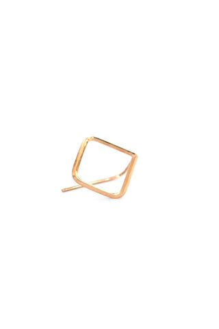 Natalie Marie Square Ear Hook Large Yellow Gold