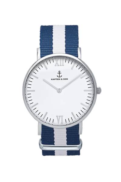 KAPTEN & SON Sail Campina White Face (36mm) Nylon Dark Blue White Strap Silver Hardware