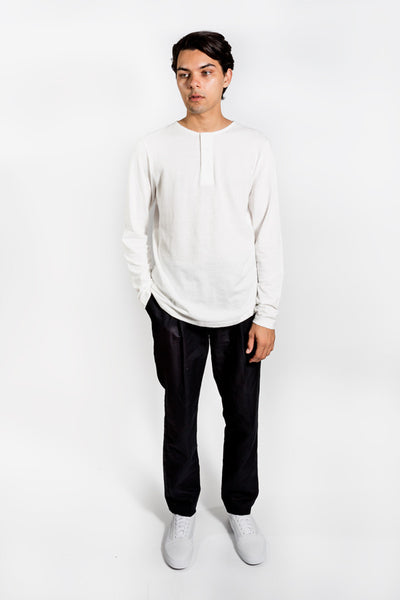 Saturday Surf Nyc Mitch Henley Horizontal L/S Ivory