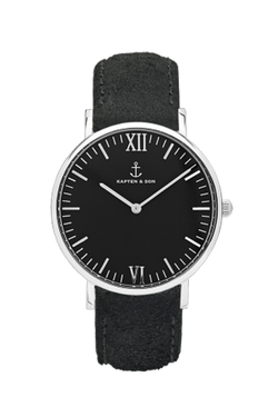 KAPTEN & SON Silver All Black Vintage Campina Black Face (36mm) Black Suede Leather Strap Silver Hardware