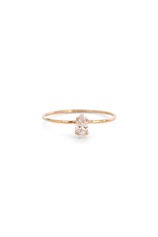 Natalie Marie Tiny Marquise Ring With Cubic Zirconia Gold