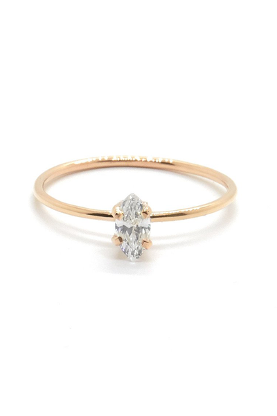 Natalie Marie Tiny Marquise Ring with Cubic Zirconia Rose Gold