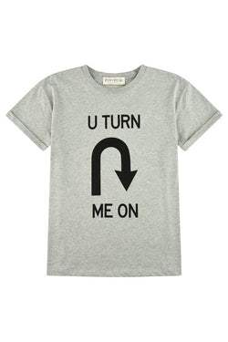 Etre Cecile U Turn Me On Oversized T-shirt Grey Marle