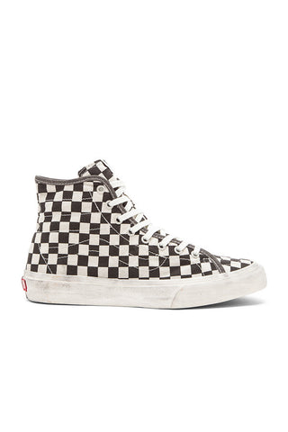 VANS SK8 HI DECON available in OVERWASHED BLACK CHECK