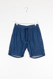 VANISHING ELEPHANT SUNDAY SHORT available in INDIGO CHAMBRAY