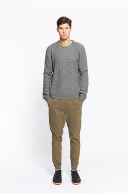VANISHING ELEPHANT Chunky Crew Neck Charcoal Cable
