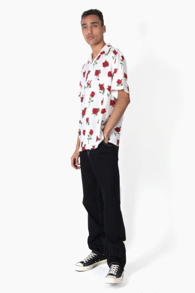 Black Weirdos Rose Skull Aloha Shirt - White