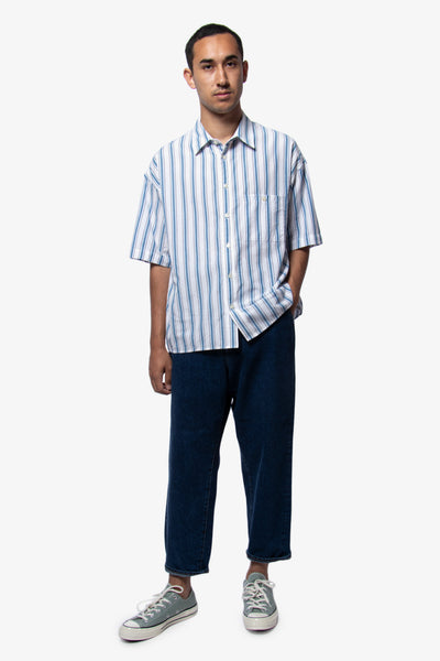Bukht Basic Short Sleeve Shirt - Blue Stripe