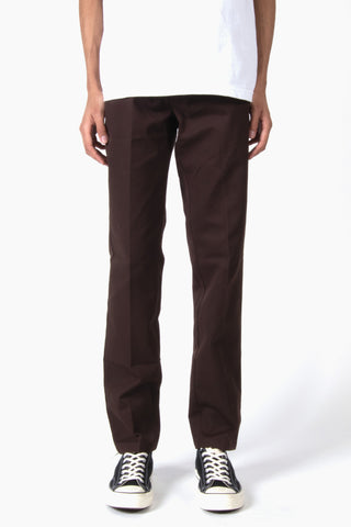 DICKIES 873 Slim Straight Fit Straight Leg Work Pant Chocolate Brown