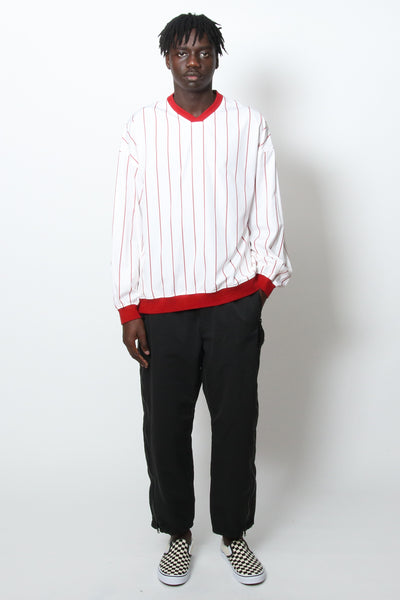 Kiit V-Neck Stripe Pullover Shirt White Red Kiit is available in Brisbane Queensland Australia at Violent Green Store #kiit #kiitdealer #kiitstockist #kiitaustralia #kiitbrisbane #kiitqueensland #kiitjapan #kiit_japan #kittaoyama #kittpants #menswear #menspants #madeinjapan #fashion #brisbanefashion