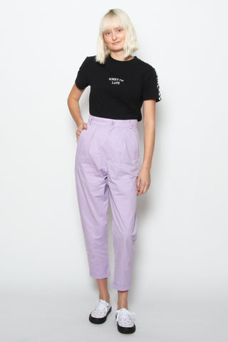 Lazy Oaf LO Basics Lilac Peggy Trousers available in Lilac Lazy Oaf is available in Brisbane Queensland Australia at Violent Green Albert Street store #lazyoaf #lazyoafdealer #lazyoafxdrmartens #lazyoafdocmartens #drmartensxlazyoaf #lazyoafstockist #lazyoafaustralia #lazyoafbrisbane #lazyoafqueensland #lazyoafclothing #lazyoafshoes #lazyoafstore #lazyoafbettyboop