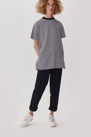 Lazy Oaf LO Basics Stripey Oversized t-shirt - Black / White