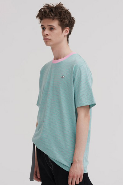 Lazy Oaf Stripey Short Sleeve T-shirt - Blue