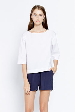 Vanishing Elephant Woven Tee White Poplin